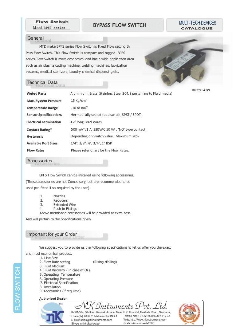 Bypass Flow Switch Bpfs Series Accessories Va 1 A
