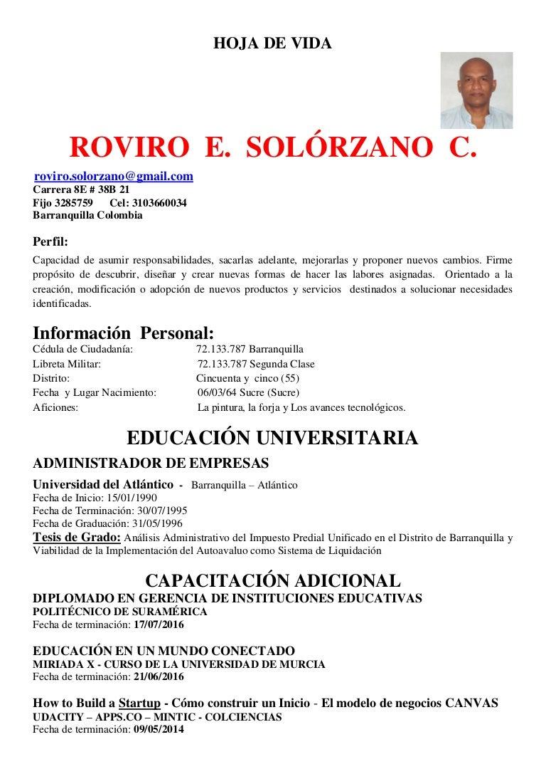 C.V. Hoja de Vida, Roviro Solorzano