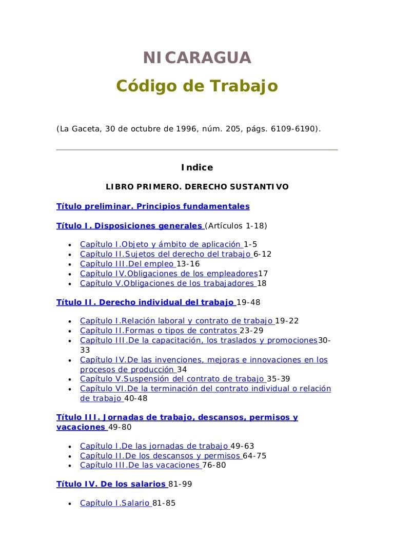 Código del trabajo nicaragua (la gaceta, 30 de octubre de 1996)