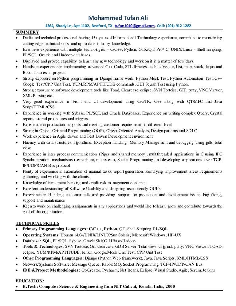 c cpythonlinux developer resume