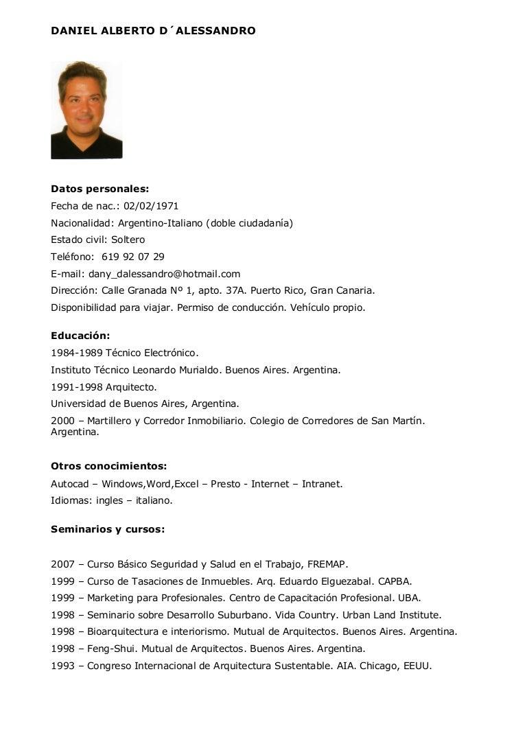 C.V. Arquitecto / Jefe de Obra