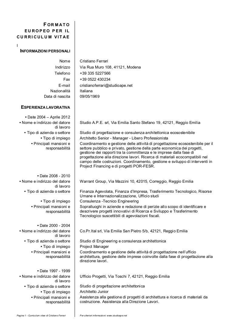 Curriculum Vitae Architetto Formato Europeo