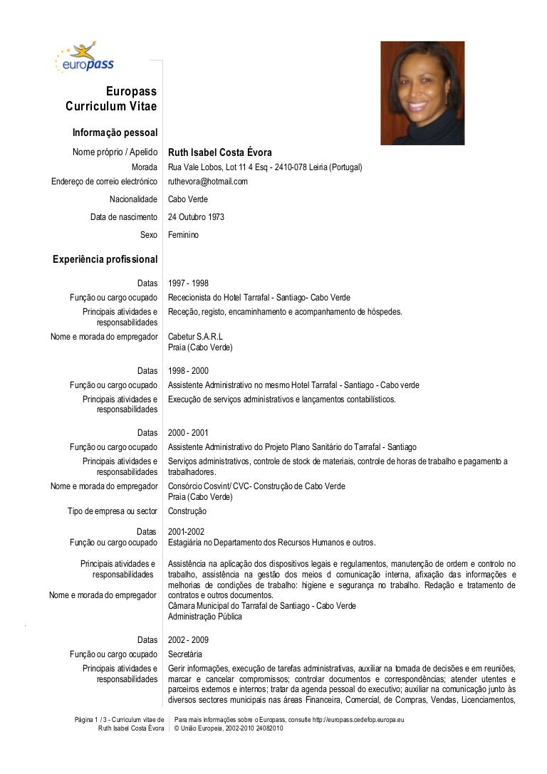cv europass template portugues image collections