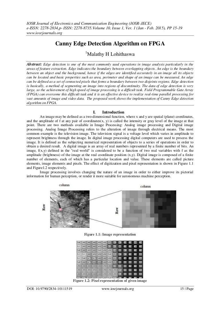 Canny Edge Detection Algorithm on FPGA
