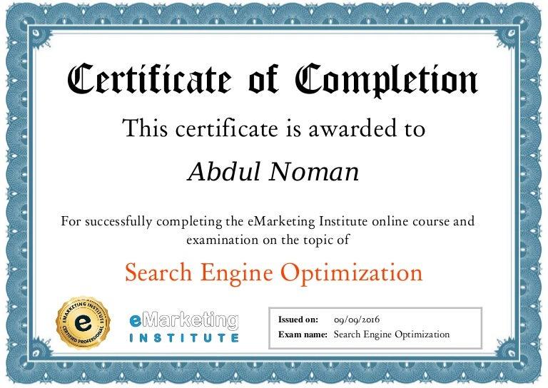 certificate seo