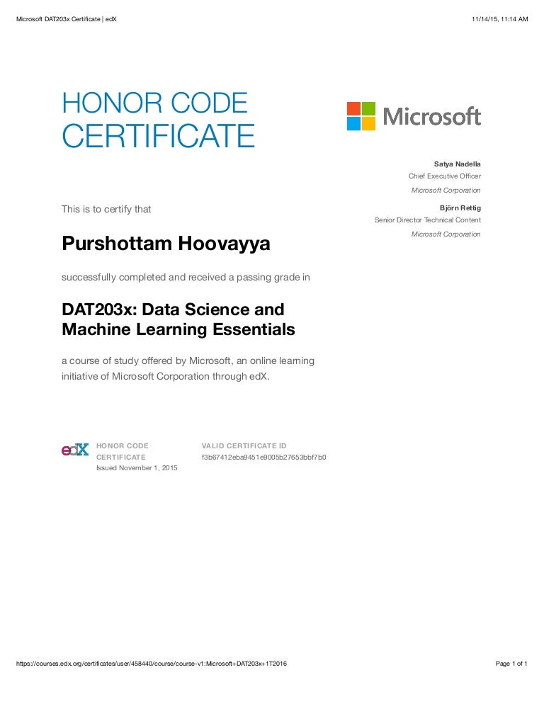 Microsoft Dat203x Certificate Edx