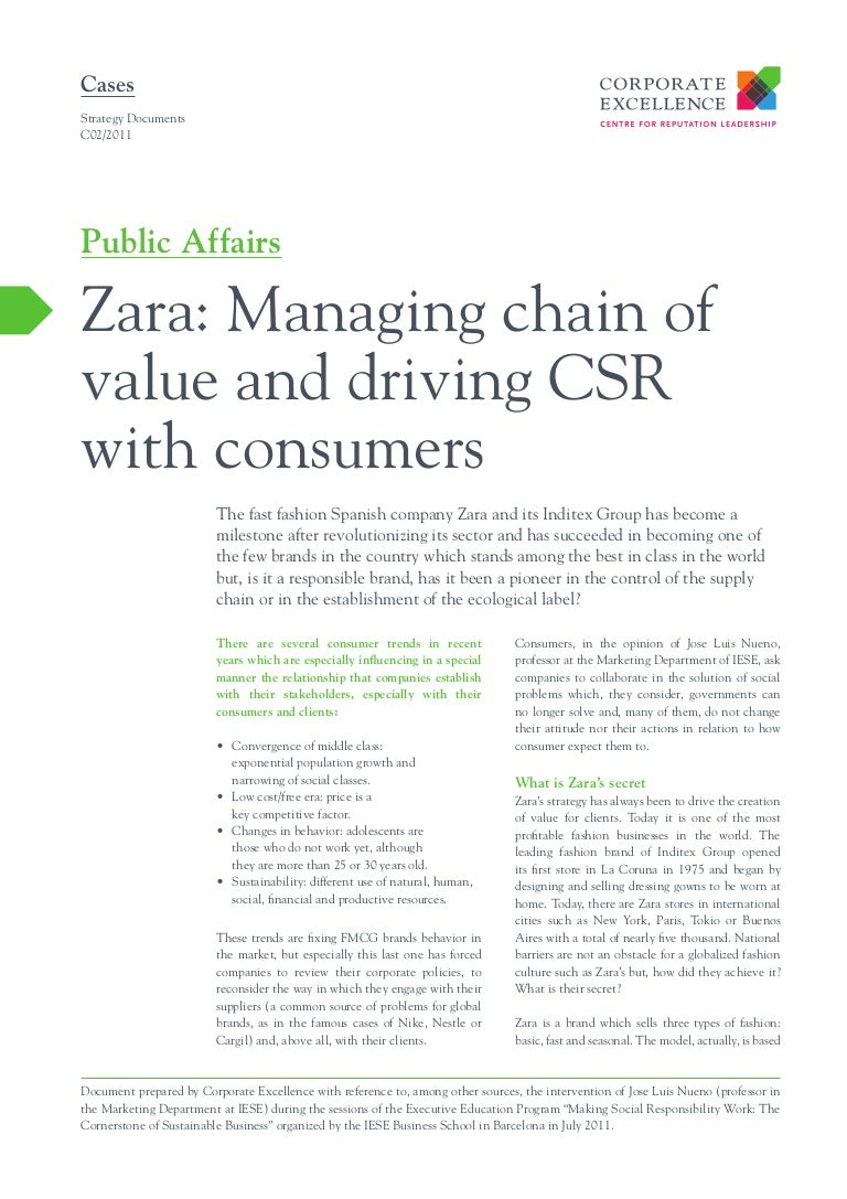 zara managing chain of value and driving csr consumers