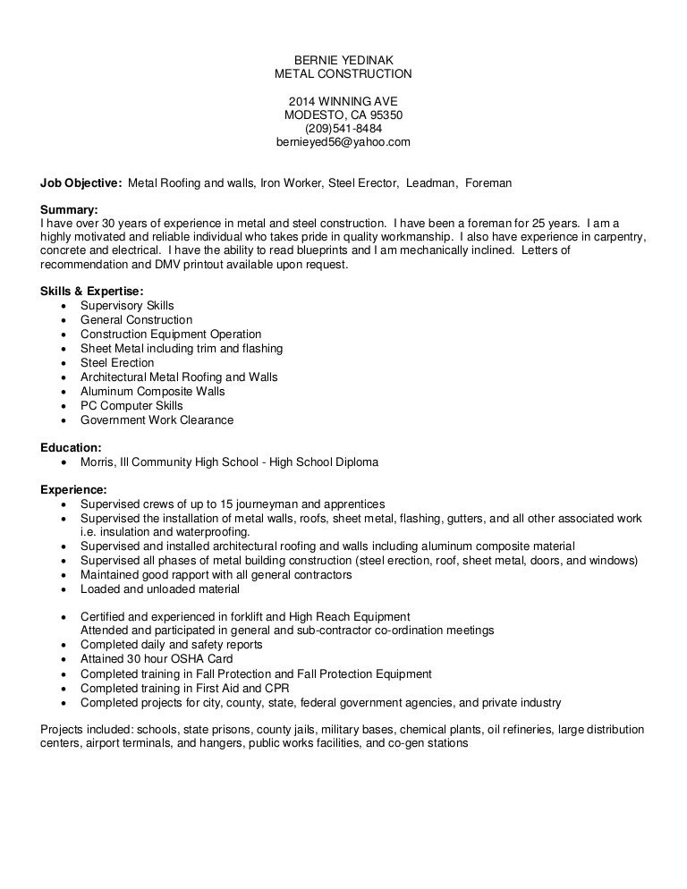 Metal Worker Sample Resume] Sample Resume For Sheet Metal Worker ...
