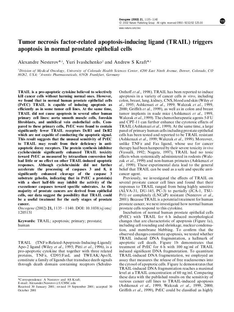 apoptosis tumori prostata