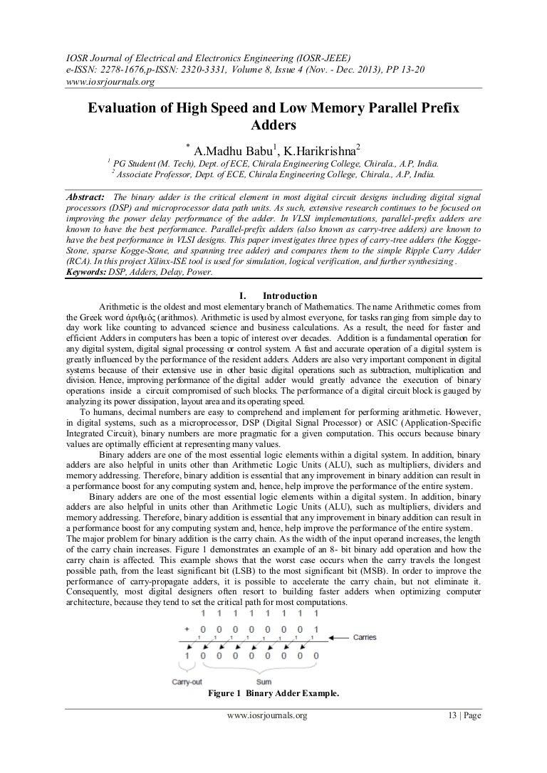 Evaluation Of High Speed And Low Memory Parallel Prefix Adders Adder Logic Diagram Kogge Stone 16 Bit Cmos Xor Gate Circuit C0841320 140508020036 Phpapp01 Thumbnail 4cb1399514552