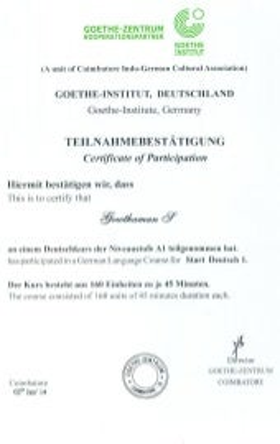 Goethe Institut Level A1 _ Participation_Test Score