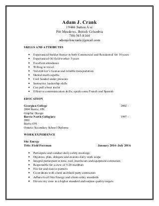 Adam J. Crank Resume June 2013