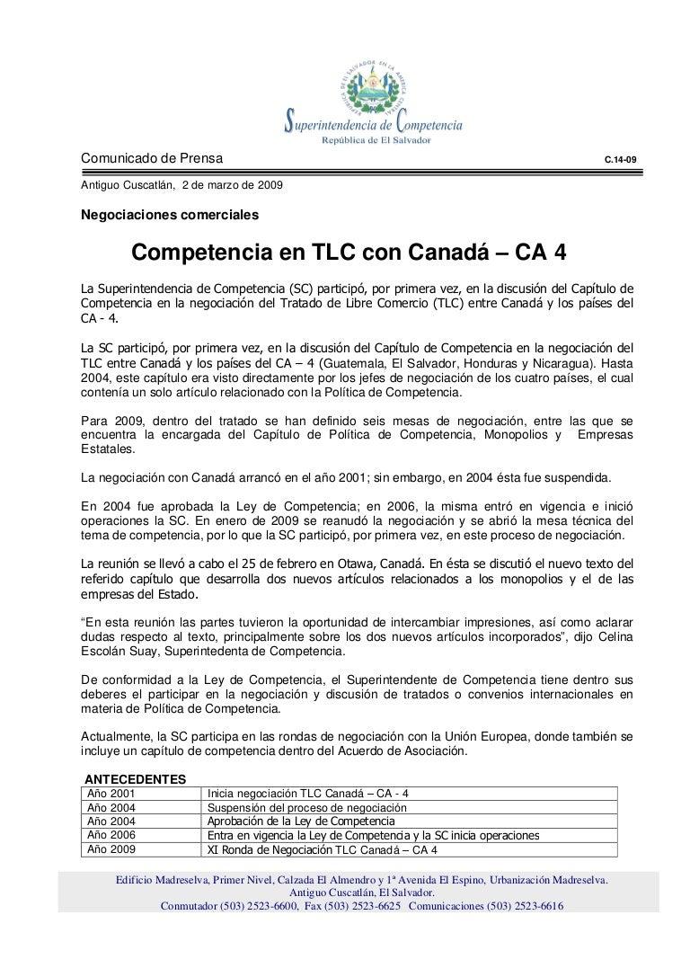 Competencia en TLC con Canadá – CA 4