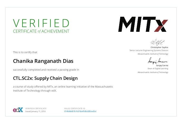 Mitx Ctl Supply Chain Design Certification