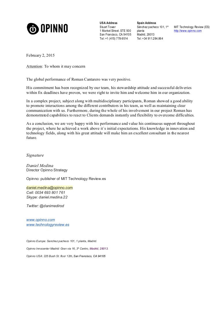 Recommendation letter Opinno