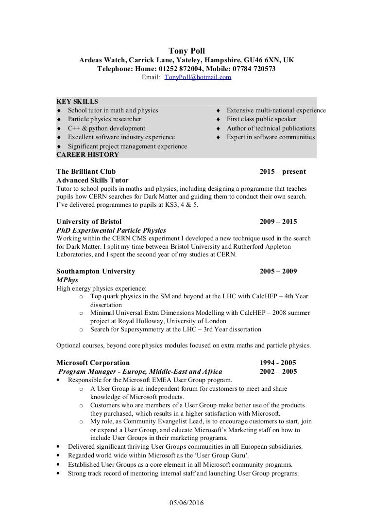 Nice High Energy Physics Resume Frieze - Administrative Officer ...