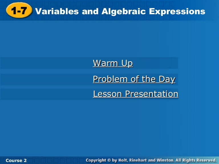 Variable and Algebraic Expressions