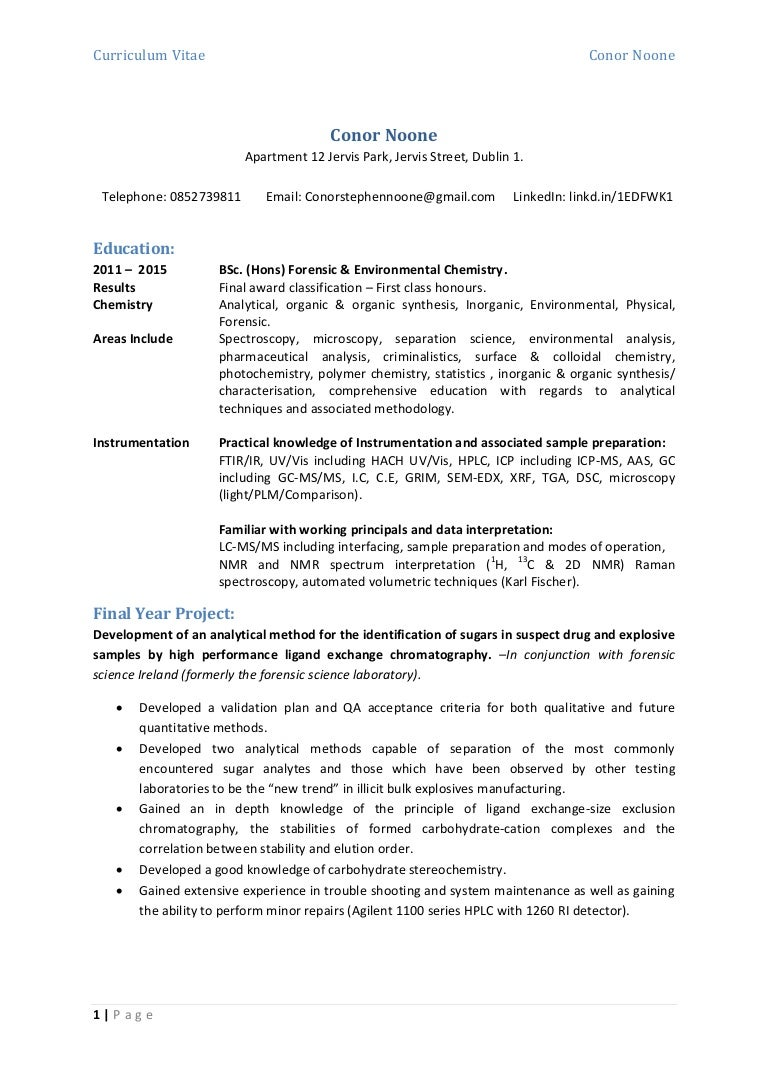 Ziemlich Forensic Curriculum Vitae Ideen - Entry Level Resume ...