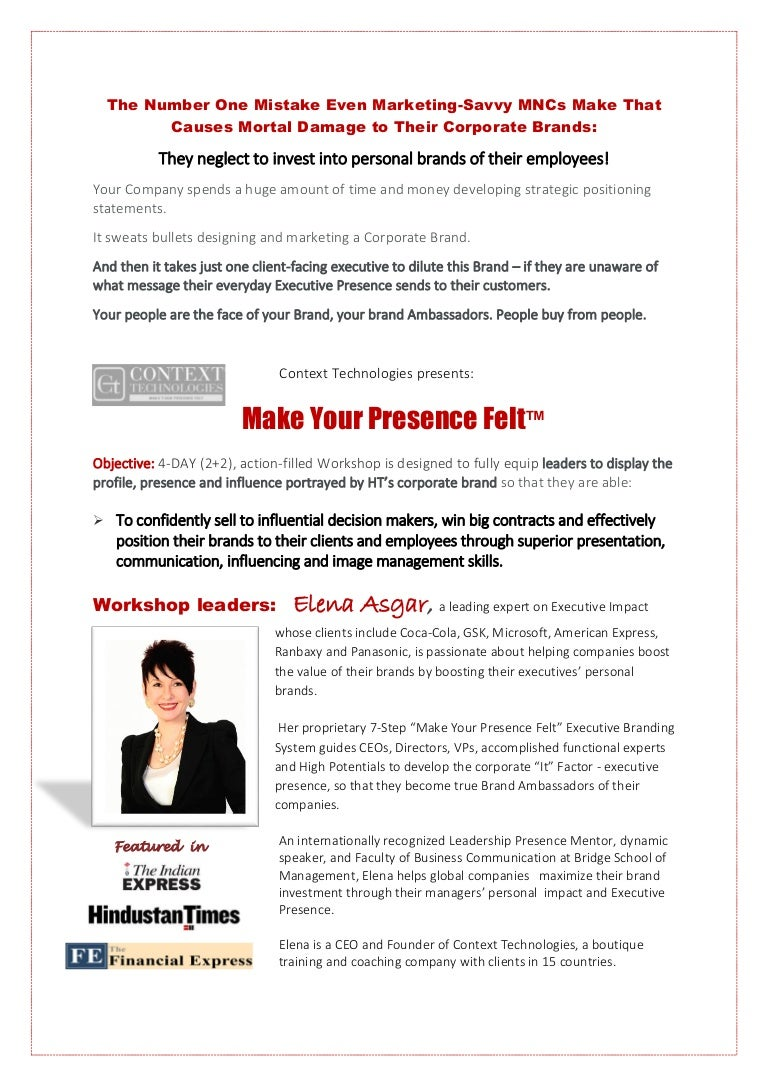 Executive Presence Workshop4 Days