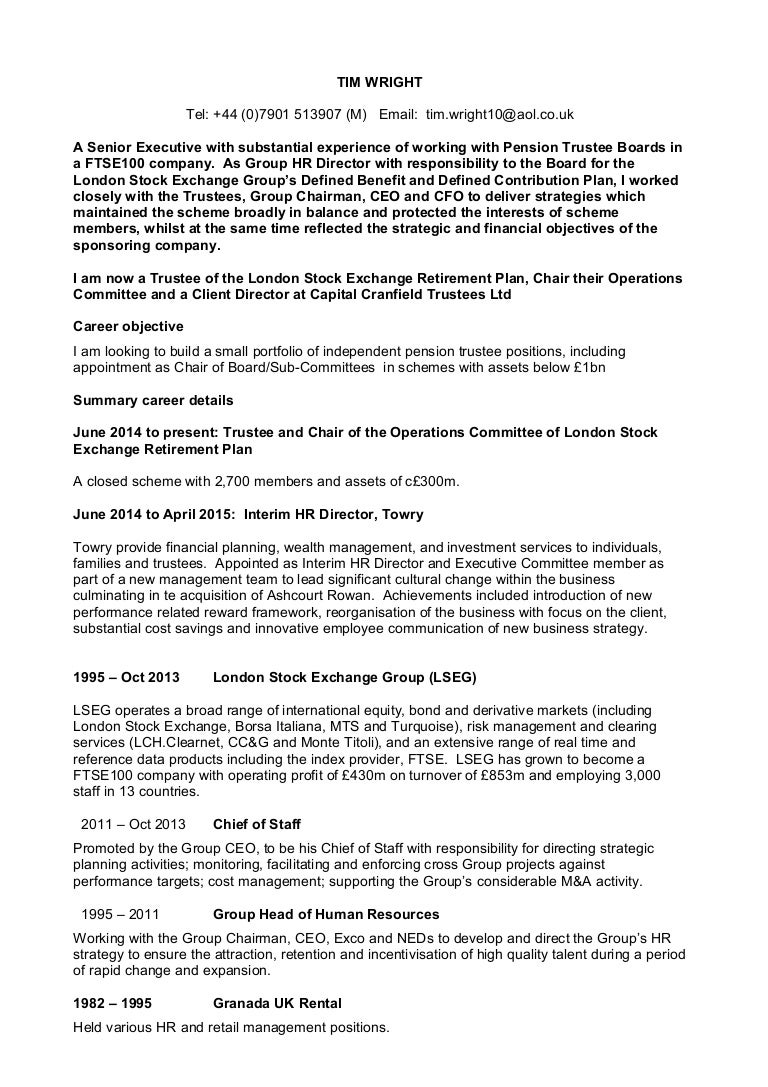 tim wright pension cv