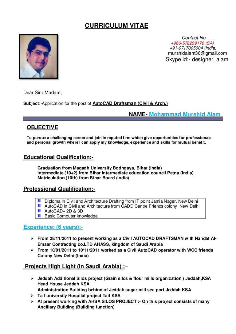 CV for AutoCAD Draftsman ( civil & Arch.)