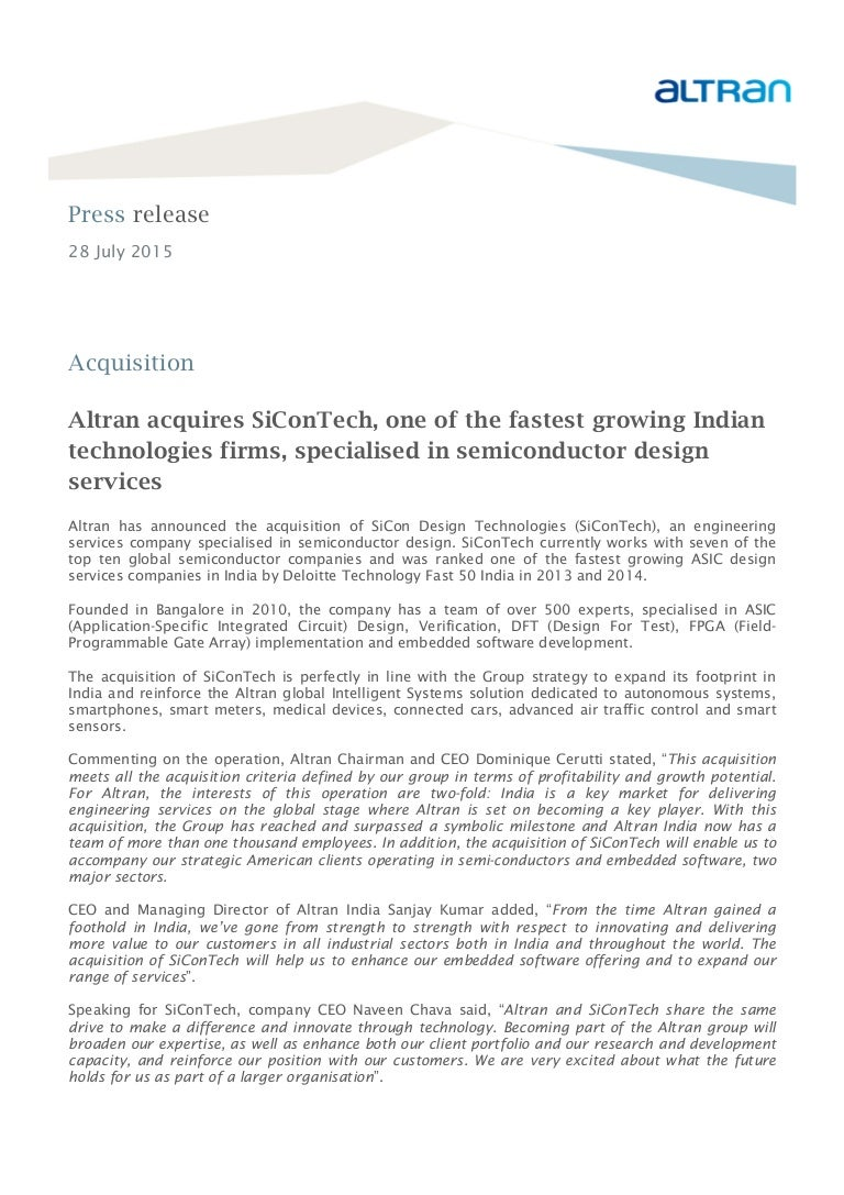 Pr Alt 28072015 Sicontech Acquisition Services Integrated Circuit Technologies