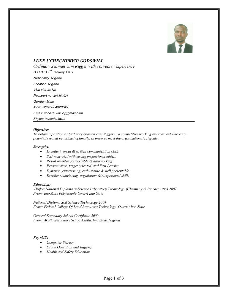Ordinary Seaman Resume Format. resume for apprentice deck cadet ...