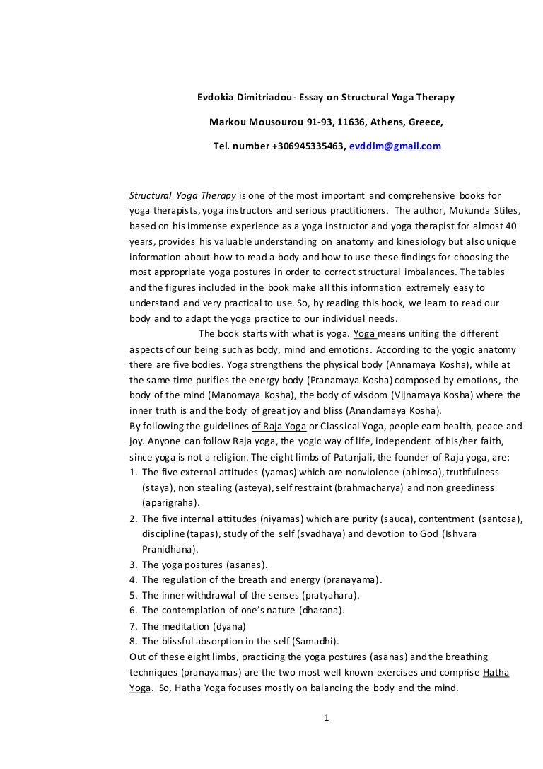 evdokia dimitriadou part ii structural yoga therapy essay