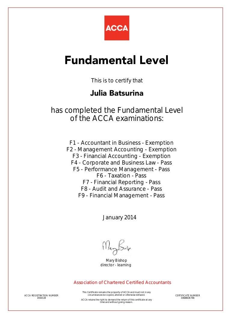Certificate ACCA F