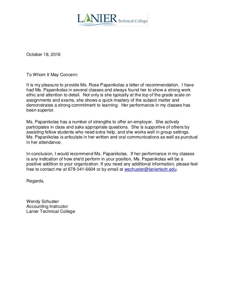 10 18 16 Wendy Schuster Cpa Letter Of Recommendation