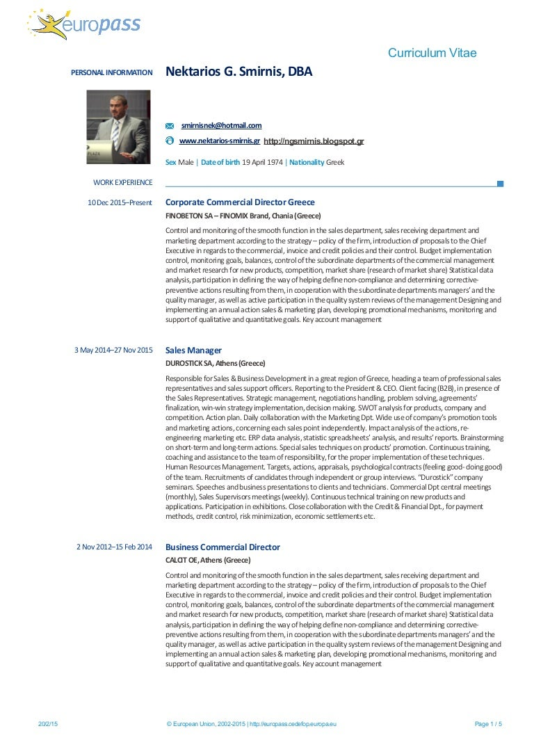 Europass CV Dr Nektarios G Smirnis
