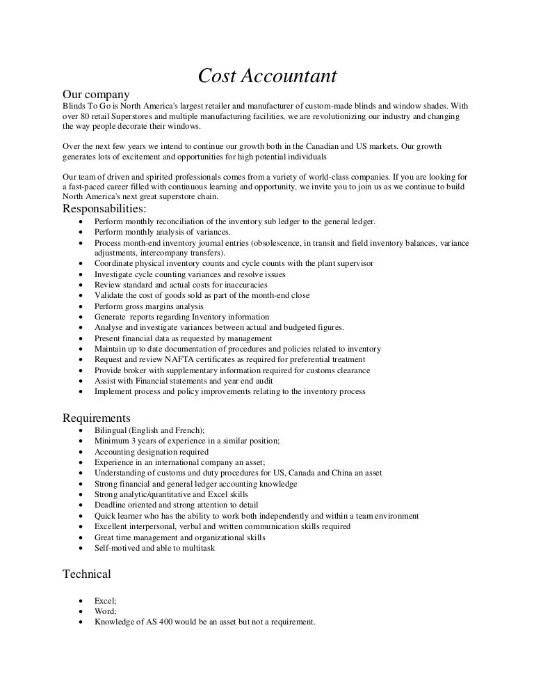 Cost Accountant Job Description