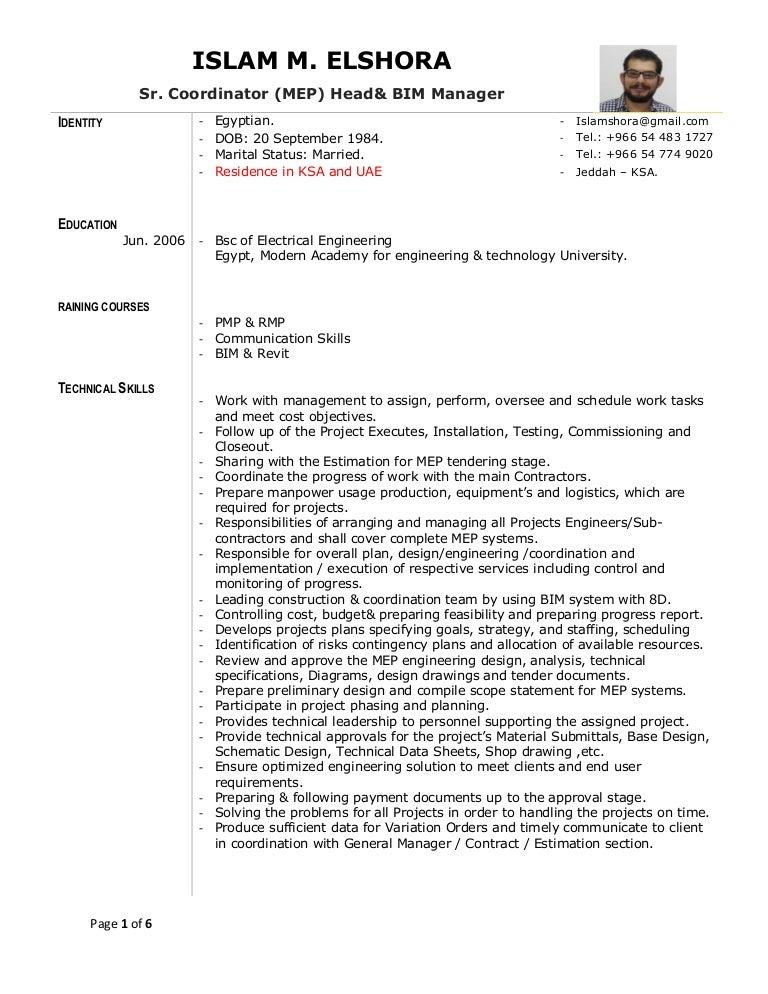 Resume Of Islam M Elshora Sr Coordinator Mep Amp Bim Manager