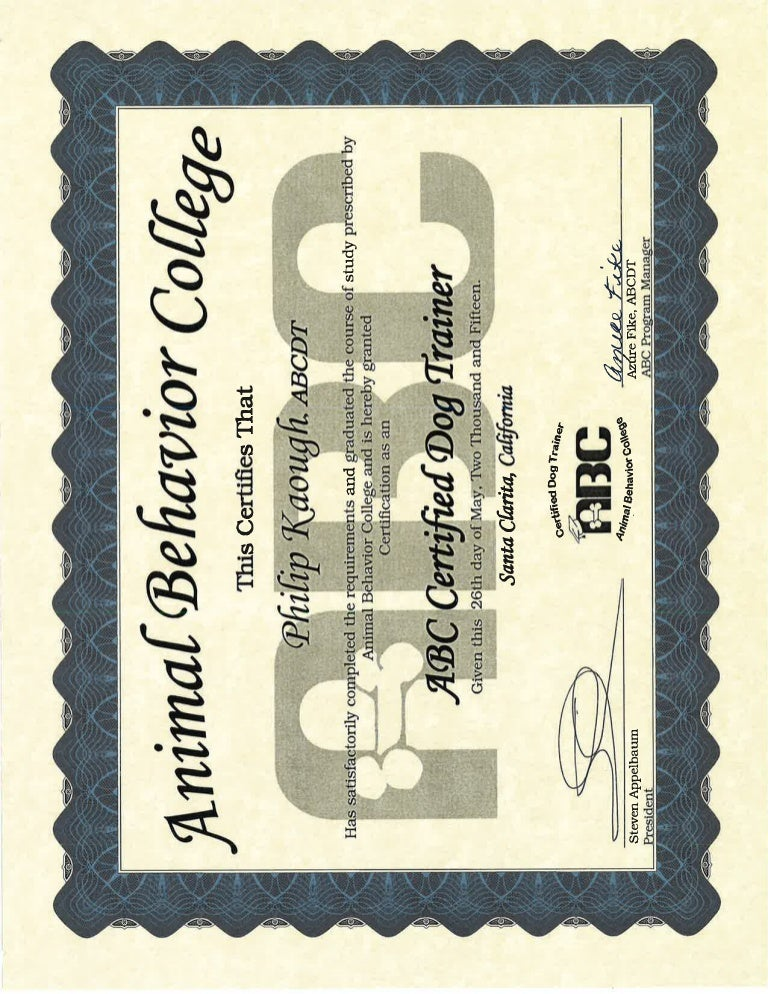 dog trainer certification certificate