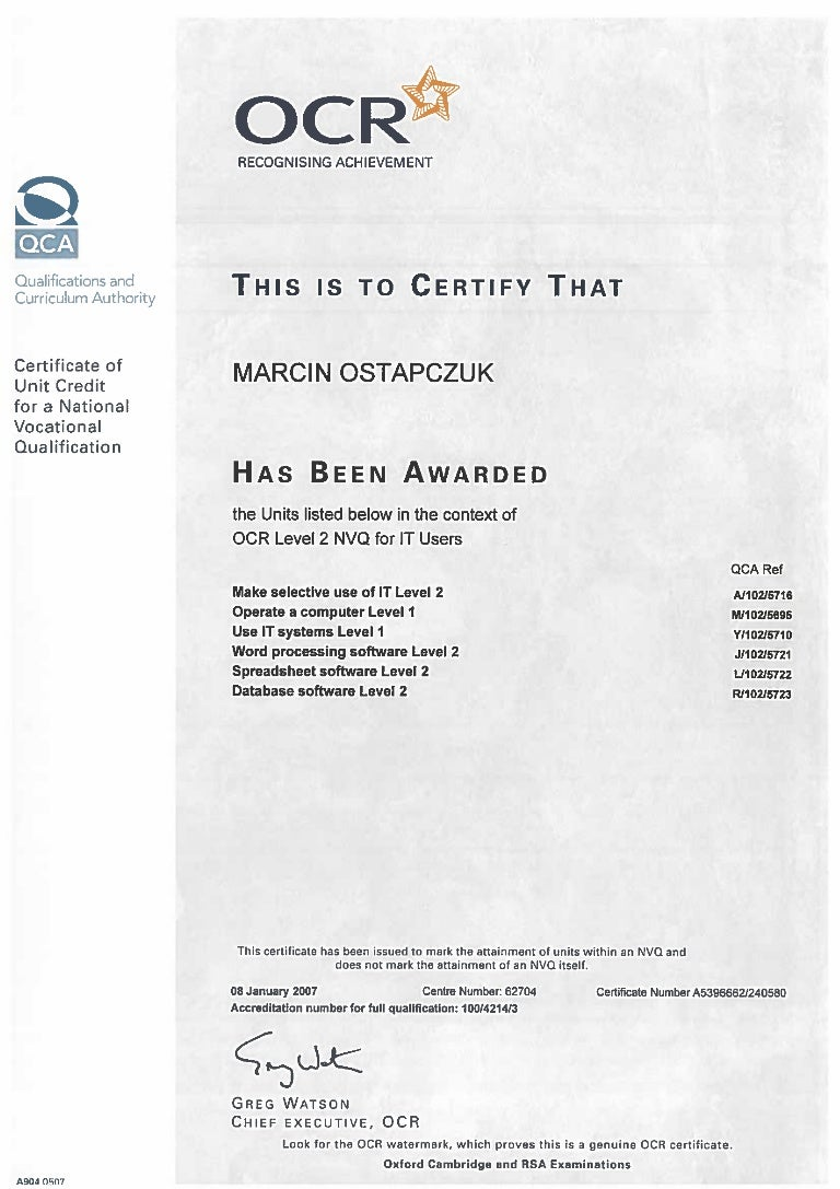 Vocational certificate images any certificate example ideas certificate ocr nvq level 2 for it users 1betcityfo images 1betcityfo Image collections