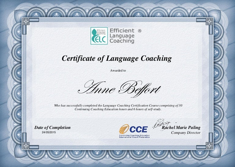 Certificate Language Coach