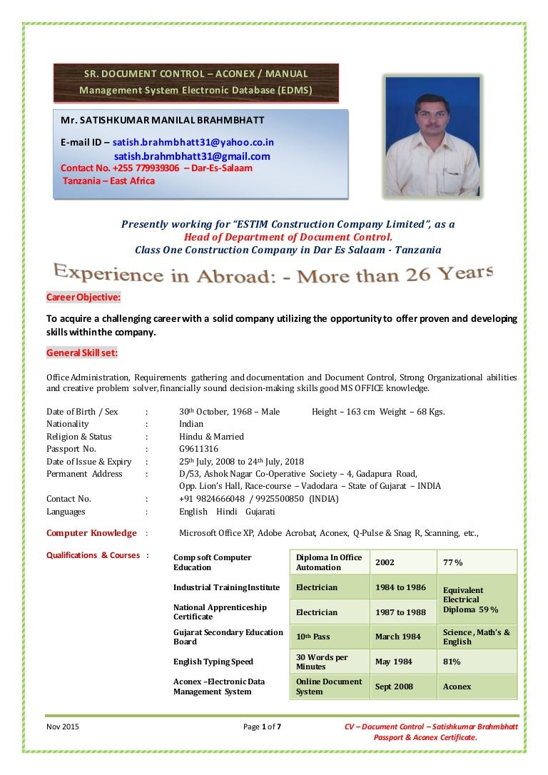 cv sr document controller aconex passport mr satishkumar br