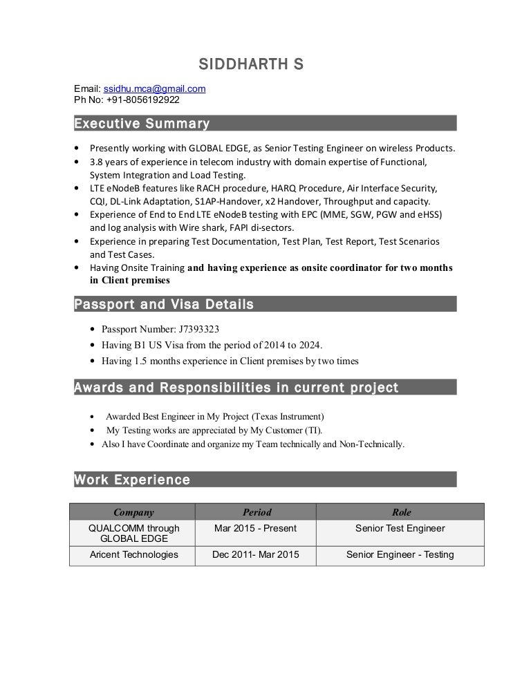 siddharth resume with 4 years of experience in telecom testing