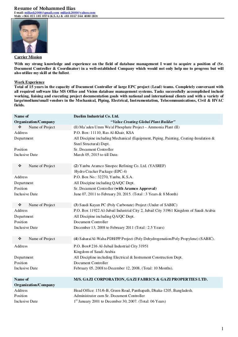 Resume of Mohammed Ilias-(Sr. Document Controller)