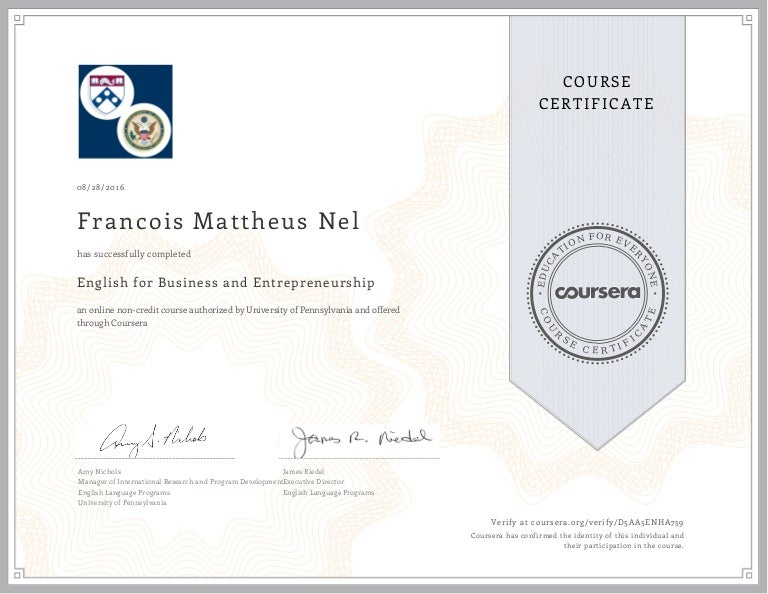 Course Certificate - English for Business & Entrepreneurship