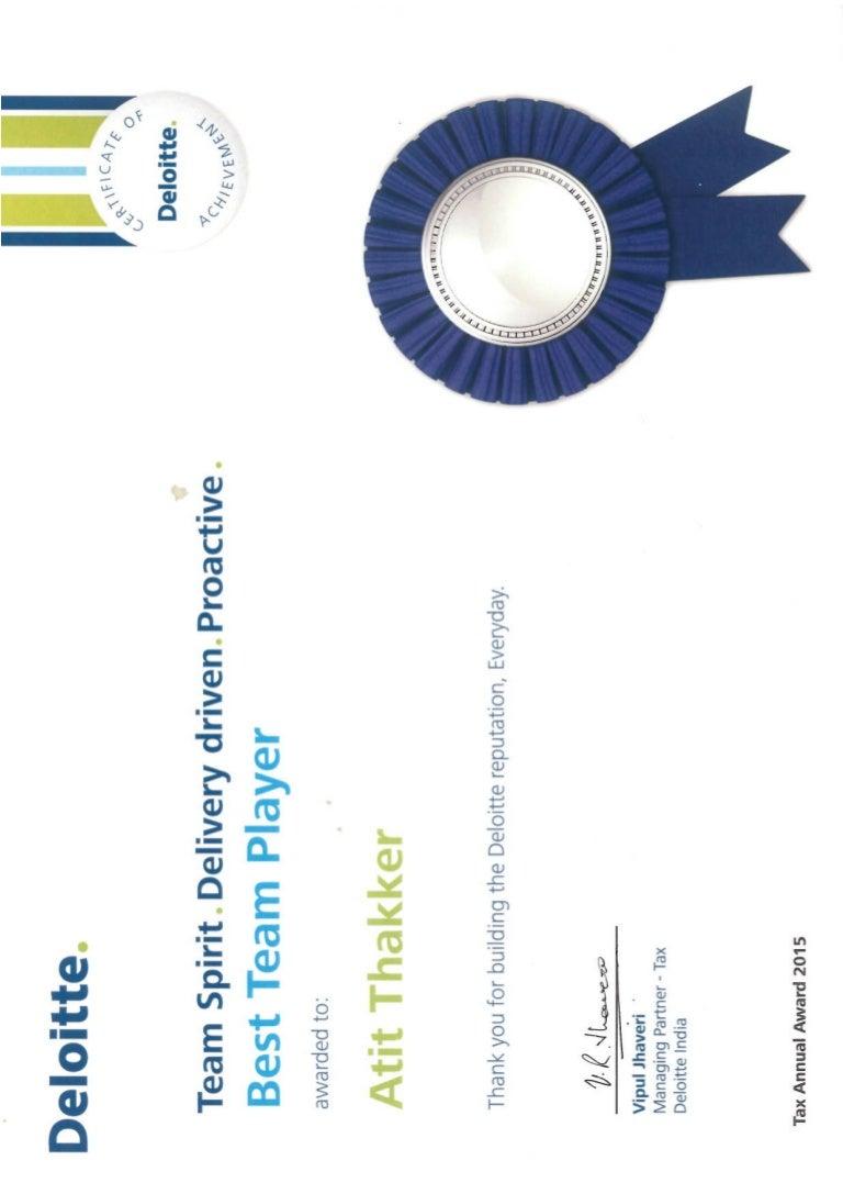 Deloitte - Best Team Player Certificate for 2014