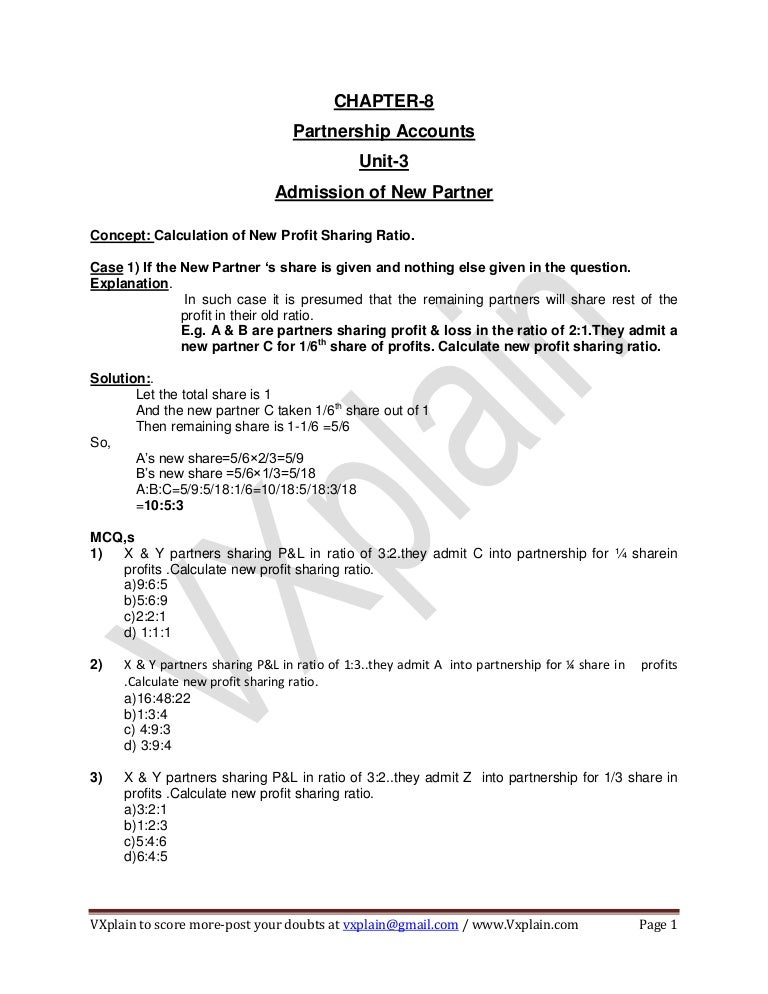 Ca Cpt Accounts Revision Sheet Partnership Accounts Admission Of Ne