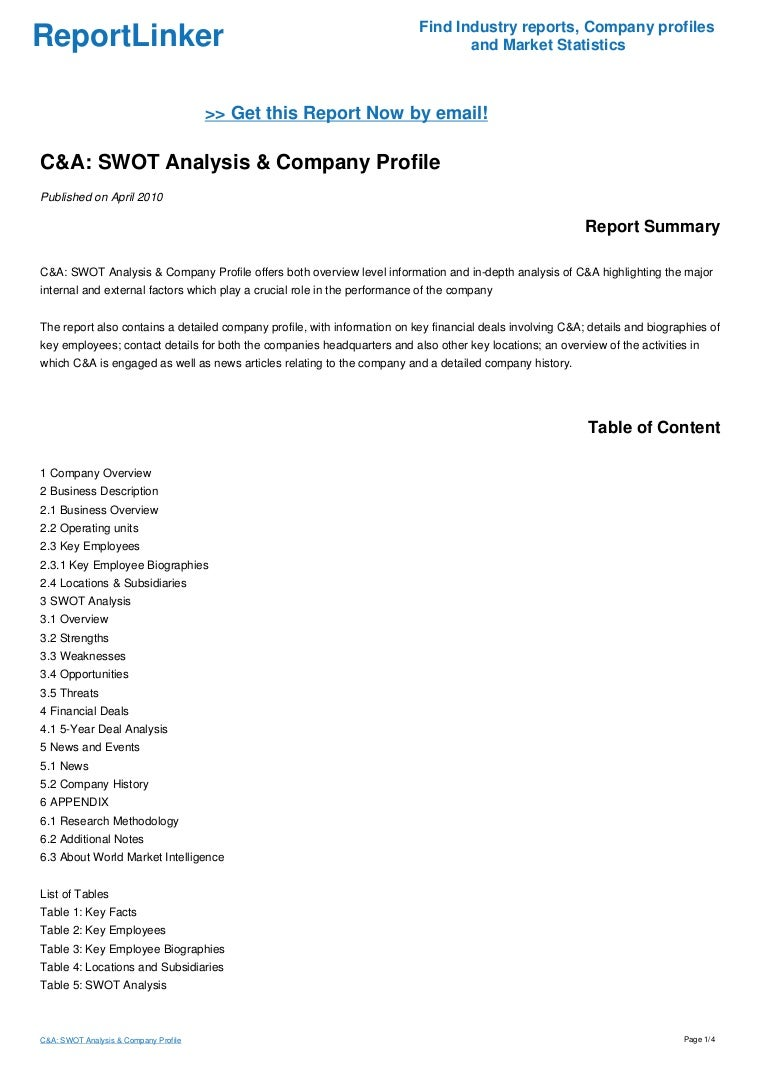 c a swot analysis company profile