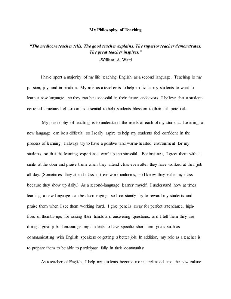 Essay Format Example For High School  Personal Essay Thesis Statement Examples also Political Science Essay My Philosophy Of Teaching July Last Draft A Essays Papers