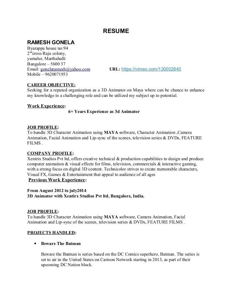 rameshg_cv job description for animator - Job Description Of An Animator