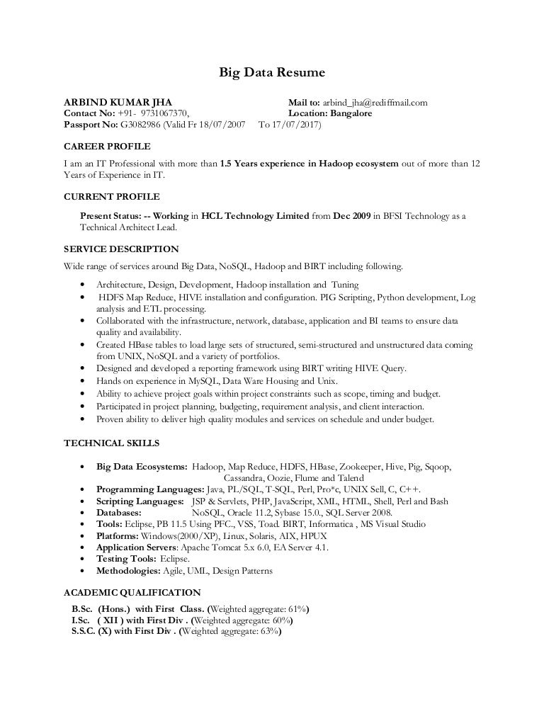 hadoop big data resume