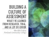 Building a Culture of Assessment: What I've Learned from Research, Trial, and (a lot of) Error