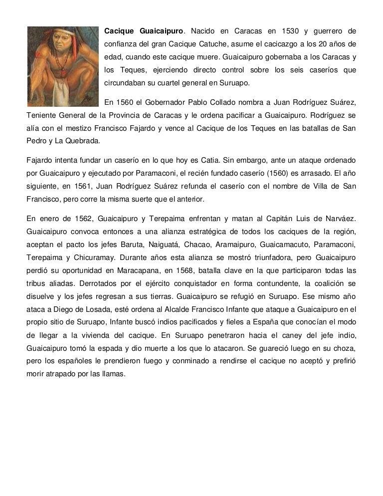 Cacique guaicaipuro. nacido en caracas en 1530 y guerrero de confianz…