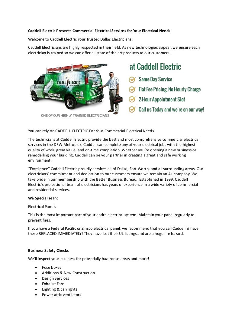 Caddell Electric Presents Commercial Electrical Services For Your Ele Fuse Box