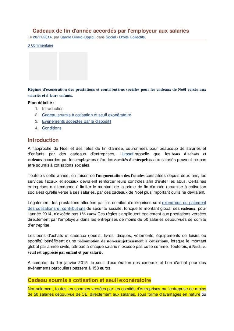 Cadeaux De Fin D Annee Exoneration Cotisations
